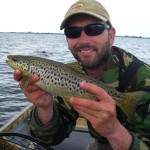 One brown at the end of a long day on Corrib.. This fish took the nameless tail fly i tied for Kylemore Lough on a Di4.