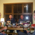 Myself, John, Stuart and Kristian. Drinking beer and tying flies!