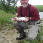 Joe Creane with his last fish of the trip! A little salmon.. No blank day in 30 days fishing is no mean feat!