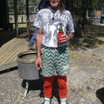 Kerzy, one of Miena's best fly fishermen, in full Australia Day regalia!