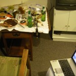 Dinner at my fly-tying desk!