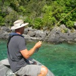 Mike into one of the better fish of the day in crystal clear water..