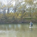 Mike in action on a coloured river..