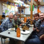 Joe Creane, Guy Hague, Jude Waite and myself.. Dinner courtesy of a river with thousands of fish per kilometre.