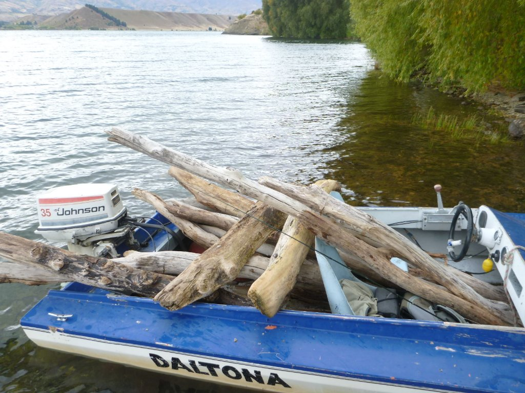 The fishing was very bad on the lake so I collected some firewood instead.