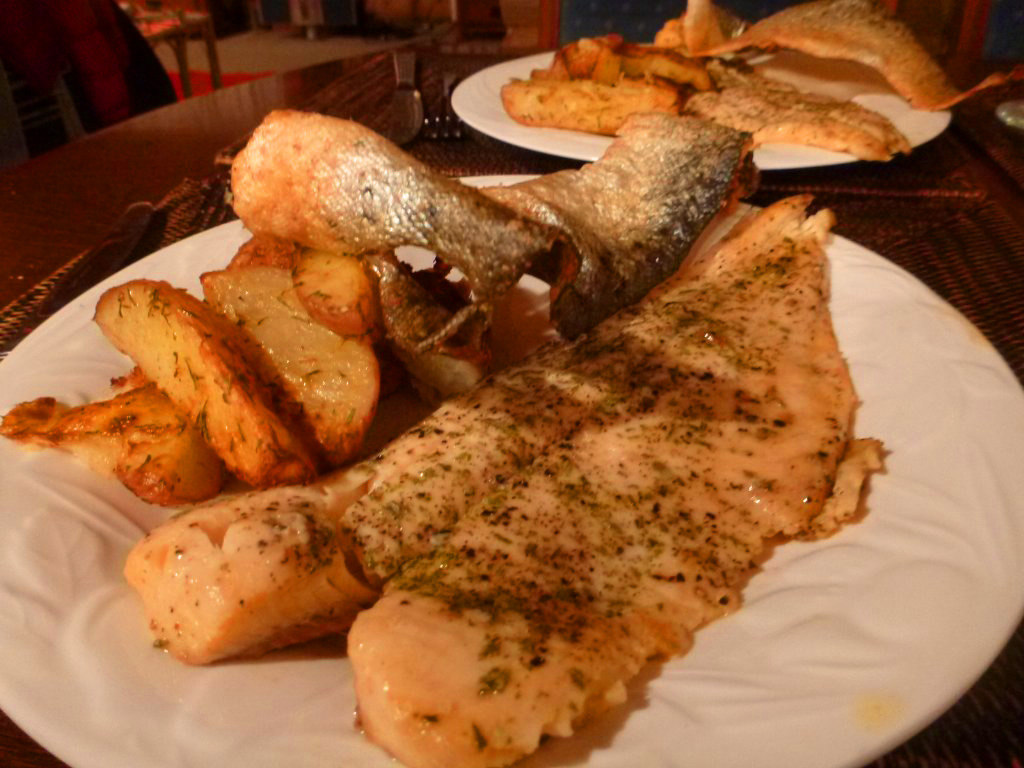Baked sea-trout with crispy skin and spuds!