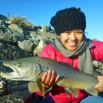 This time a really big 5.5lber from the salt water on the flowing tide. One of 4 for Iza that morning!