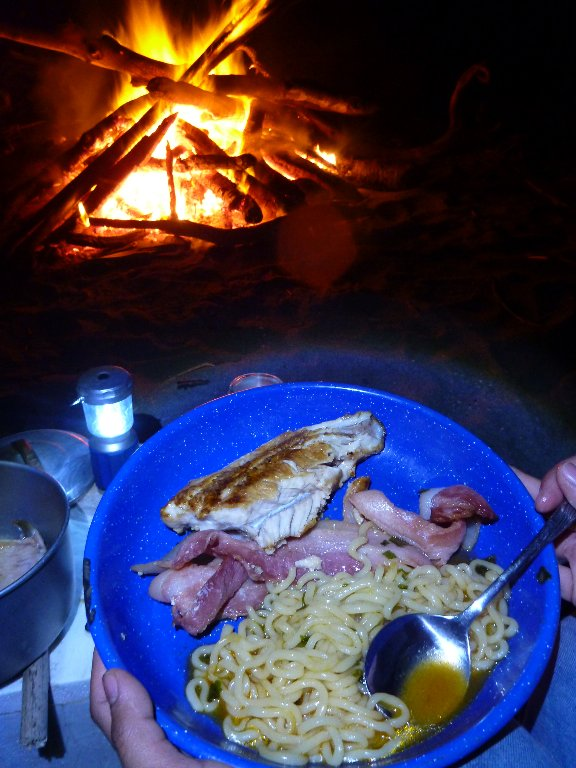 Smoky bacon with trout cooked in the bacon fat with noodles..