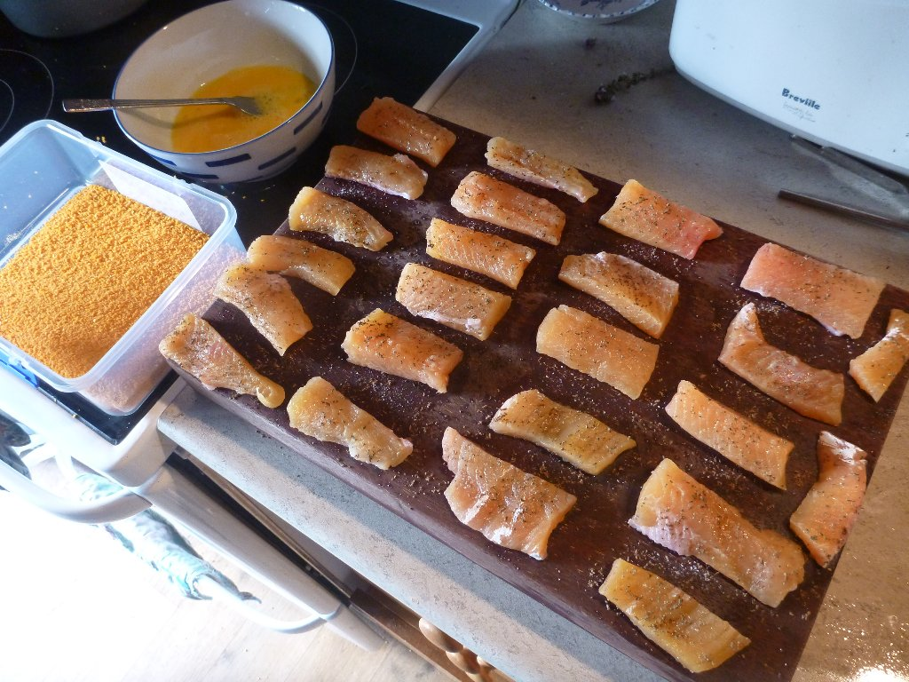 Some trout from the lake made into fish-fingers..