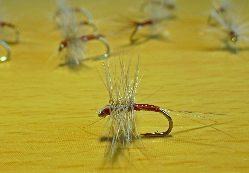 Size 14 simple dry. Floats nice and high. Good on its own or with a light nymph under it.