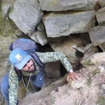 A precarious gap in a dodgy gorge.. A fella needs to take care.