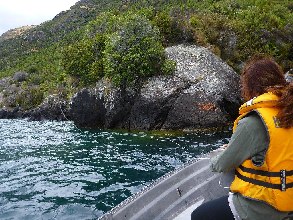 Iza kept her fly tight to the shore..