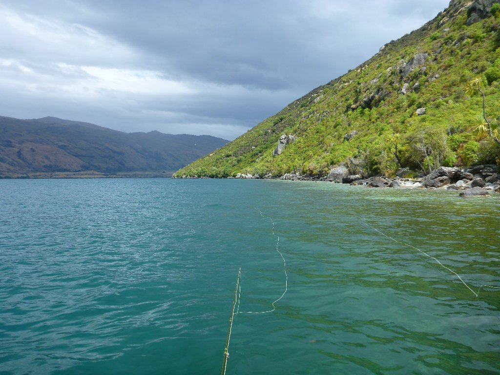 Wakatipu glows when the sun shines. Our dries are visible here. This was a magic piece of shoreline!