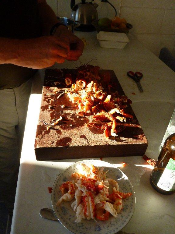 ..while Guy and I prepare the koura..