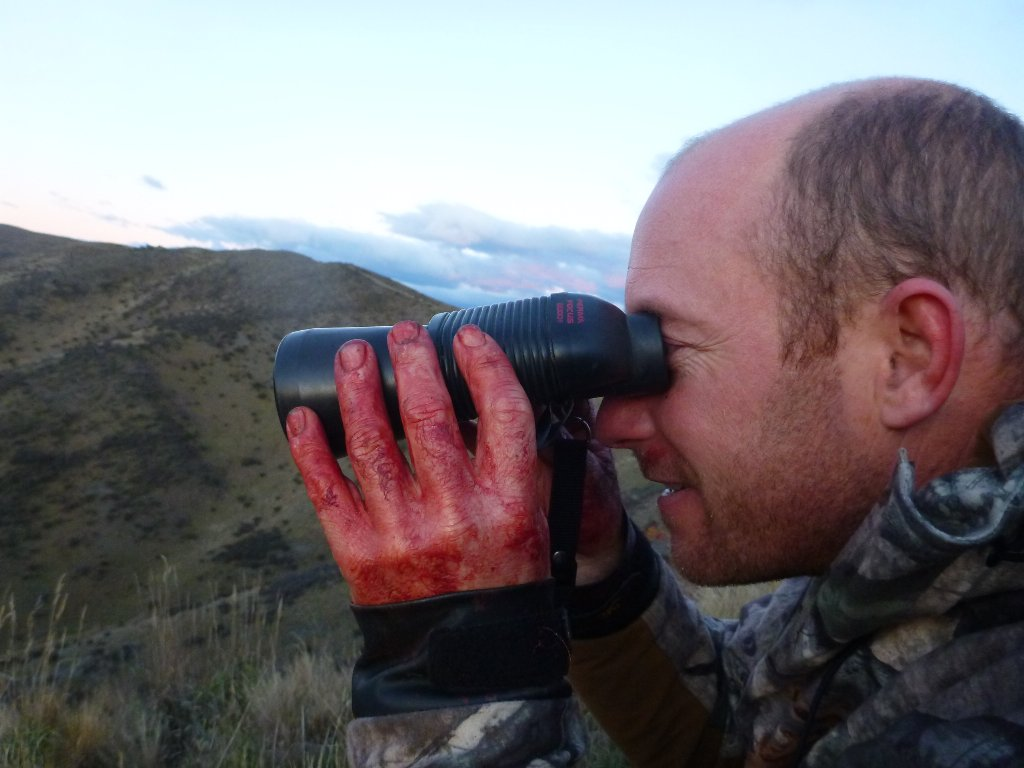 With bloodied hands he glasses a gully for a deer but no joy.