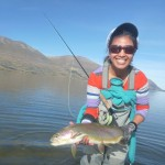 Iza wearing colours to match the rainbow trout!