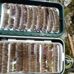 Dad's fly box.. I need more time to tie!! He gave Con the loan of it.. I borrowed one or two... or three!