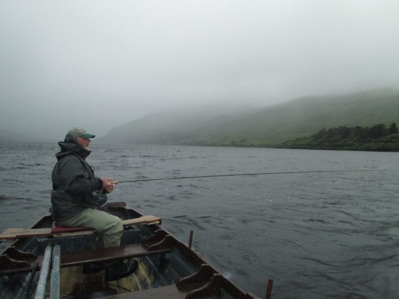 More cloud! We fish from the drifting boat covering known salmon water..