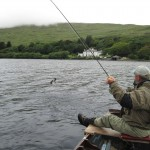 Back to Kylemore for another round! Dad into another big seatrout out from Nancy's house..