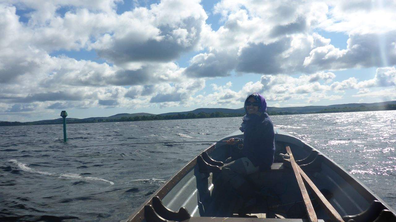 Iza on Corrib fishing dries..