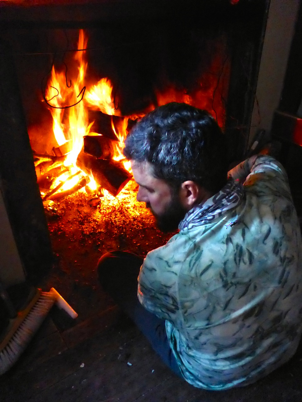 Jeff gets a fire going..