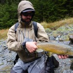 Fishing fast water, short casts with streamers or worm-flies. Exciting, fast fishing!