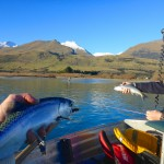 A triple hook up with Wakatipu salmon at the mouth if the Rees River. We had a great finale to the day here..