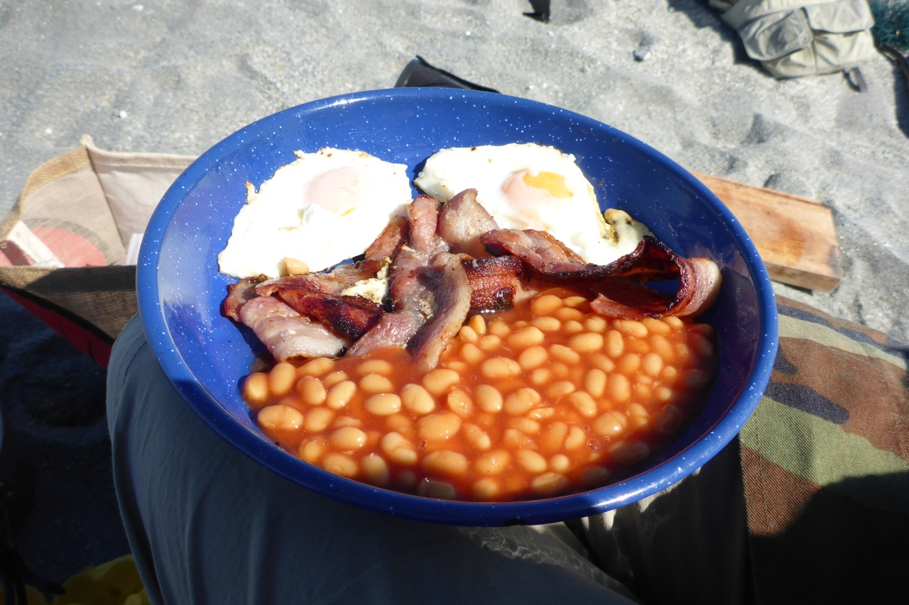 Not a touch all morning but lunch was great! Bacon, beans and eggs! Hard to beat.. (pun not intended!)
