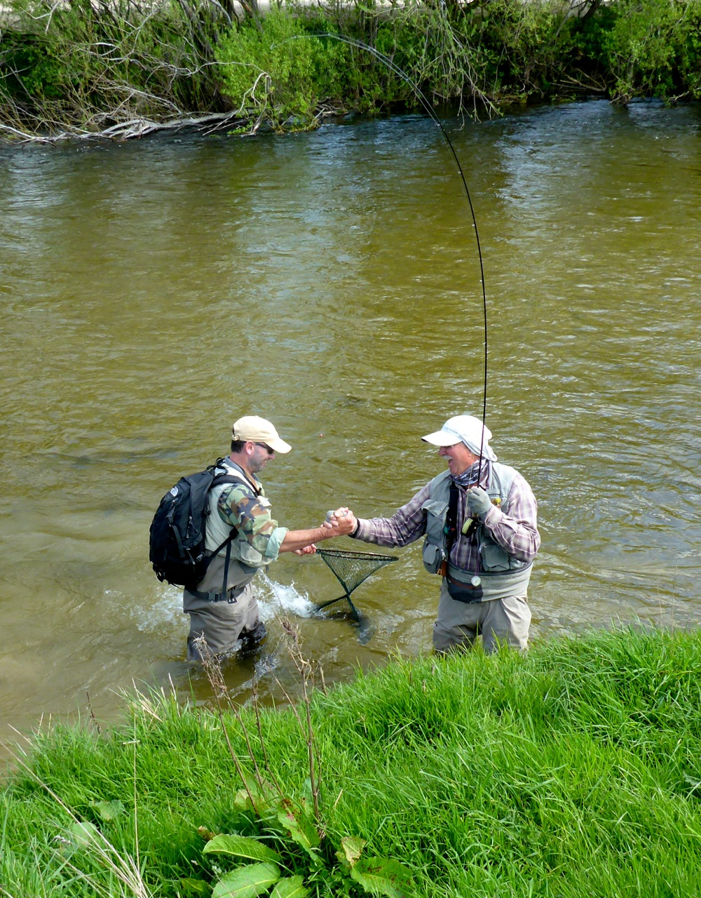 That great moment for both the guide and the angler when the fish is safely in the net!