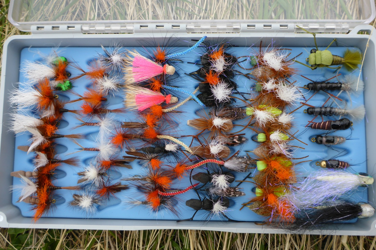A box of high viz dries from Stu's Superior flies. I dont use strike indicators, I use a dry instead. These are perfect!