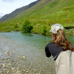 Charlotte sends in a cast to a feeding trout during a day trip ex Wanaka.