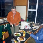Dinner at the backcountry farm cabin.