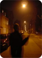 Carl flycasting in a Denmark street after three bottles of wine
