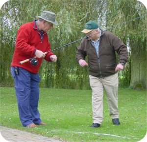 Peter and Jon discuss the finer points of flycasting - as you can see they are both experts, and especially Pete