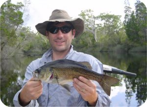 Mike (the writers fishing companian, one Noosa River bass and typical Aussi bush wear :-)