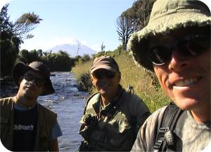 Three dudes with hats and a penchant for Spey casting under the shadow of Mt Taranaki