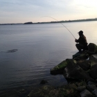 Playing a fish in the Rutland evening