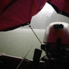 Heavy downpour - a night of close lightning strikes and an angry bull elephant near the boat!