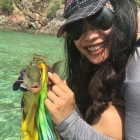 Ashly picks up this colourful fish!