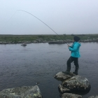Ash takes a brown on a streamer in the evening - she loose a very big fish on this river, maybe 8lbs or more