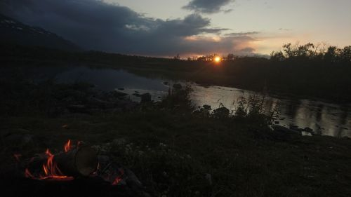 sunset and campfire